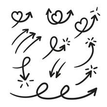 Hand Drawn Arrow Mark Icons Ve...