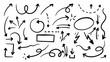Hand drawn arrow mark icons vector