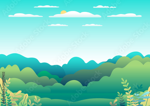 Hills and mountains landscape in flat style design. Valley background panorama countryside illustration. Beautiful green field, meadow, mountains and blue sky and sun. Rural location, cartoon vector b