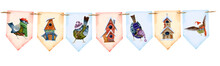 Christmas Decoration In The Form Of Colorful Illustrated Flags On The Rope Hand Drawn In Watercolor Isolated On A White Background. Ideal For Christmas Decor, Invitations And Greeting Cards.