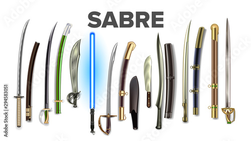 Bright Collection Of Ancient Sabers Set Vector Tableau sur Toile