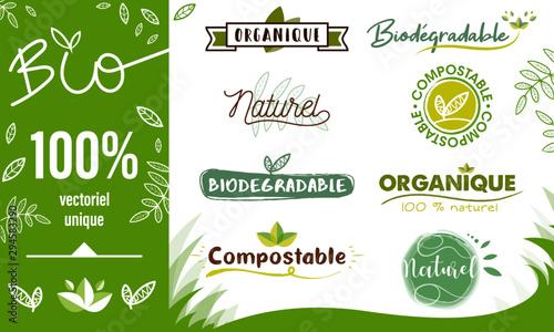 Logo / Label / sticker Bio - compostable - organique - naturel Wallpaper Mural
