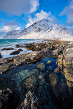 Coast Of Norwegian Sea On Rock...