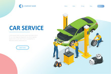 Isometric Car Repair Maintenance Autoservice Center Garage And Car Service Concept. Technicians Replace Vehicle Part, Wheels.