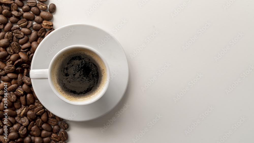 Fototapety, obrazy: Top view coffee cup with copy space