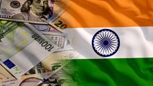 Waving Money And India Flag