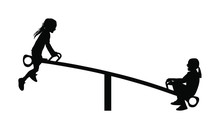Children Play On Seesaw Silhouette. Rocking Chair Climbing Teeter Vector. Happy Kids Fun In Entertainment Park. Girls After School. Friends Outdoor Recreation. Sisters Swinging Vector Silhouette.