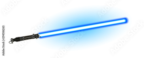Fantasy Weapon Blue Light Laser Beam Sword Vector Canvas Print