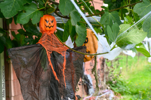 Printed kitchen splashbacks Fairytale World Halloween on the street, decorated houses. USA