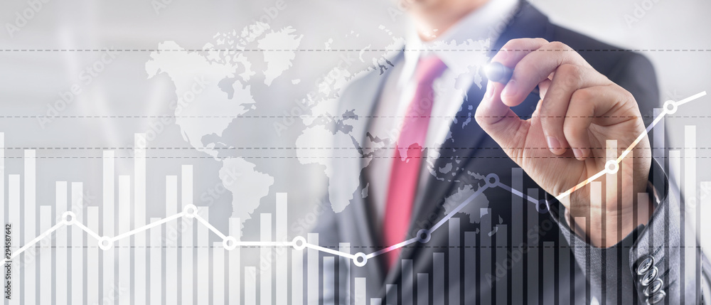 Fototapeta Business finance growth graph chart analysing diagram trading and forex exchange concept double exposure mixed media background website header