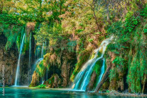 Poster Forest river Amazing and dream waterfalls in the deep forest