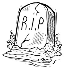 Cartoon Graphic Black And White Tomb Gravestone With Grass And R.I.P Text. Isolated On White Background. Halloween Vector Icon.
