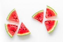 Popsicle From Fresh Watermelon On White Background Top View