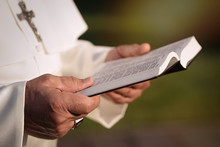 Pope Reads The Bible In The Garden