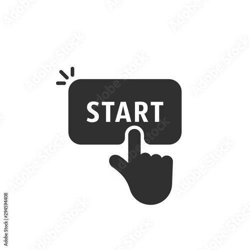 Photo black start button like finger pushing