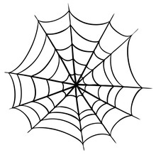 Graphic Black And White Halloween Spider Cobweb. Isolated On White Background. Vector Icon.