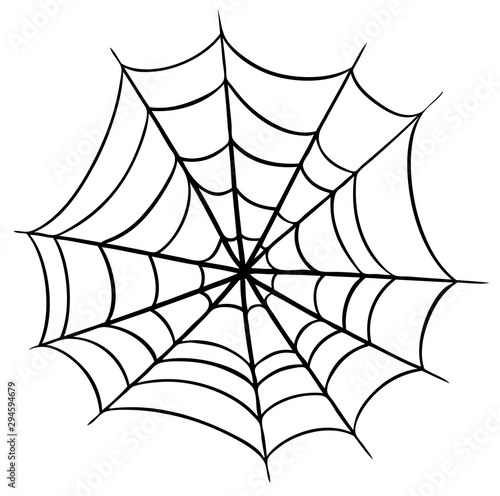 Canvastavla Graphic black and white halloween spider cobweb