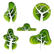 Set Of Abstract Cartoon Green Trees In Paper Cut Art Style Isolated On White Background. Vector Colorful Minimalistic Design Concept. Creative 3d Illustration Or Template.