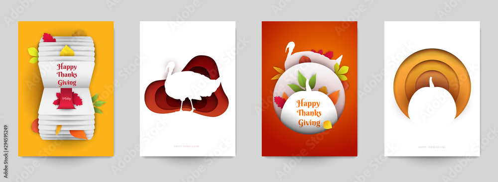 Set background for covers, invitations, posters, banners, flyers, placards. Minimal template design for branding, advertising with thanksgiving day composition in papercut style. Vector illustration.