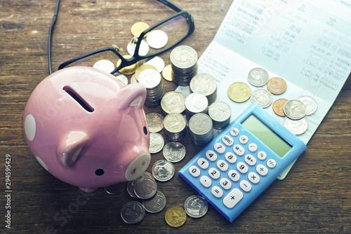 Fototapeta piggy bank and calculator obraz