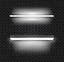 Set Of Realistic 3d White Long Fluorescent Light Tube Isolated On Transparent Background. Bright Illuminated Luminescence Lamp. Vector Illustration.