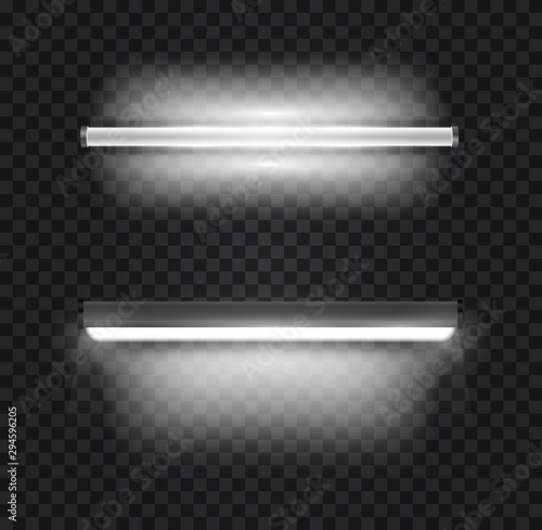 Set of realistic 3d white long fluorescent light tube isolated on transparent background Wallpaper Mural