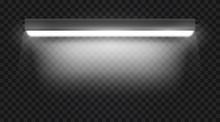 Realistic 3d White Long Fluorescent Light Tube Isolated On Transparent Background. Bright Illuminated Luminescence Lamp. Vector Illustration.