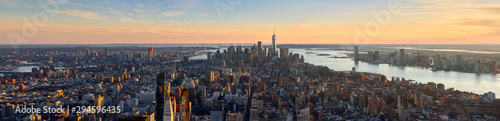 Fototapeta Aerial panoramic view of New York City at Sunset . Brooklyn (left), Midtown and Lower Manhattan (center) with Jersey City (right). USA obraz