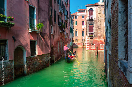 Spoed Fotobehang Gondolas Gondolas on Canal in Venice, Italy