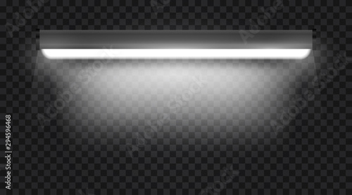 Photographie Realistic 3d white long fluorescent light tube isolated on transparent background