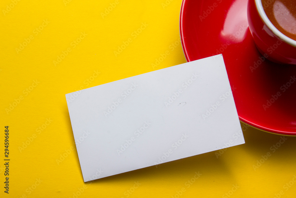 Fototapety, obrazy: Business cards Mockup on color background. Flat Lay. copy space for text
