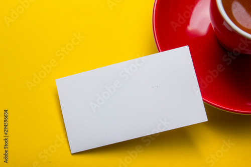 Vászonkép  Business cards Mockup on color background