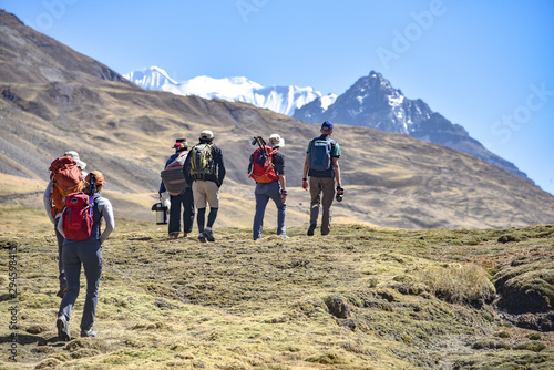 Canvastavla A group of trekkers on the Ausungate trail in the Peruvian Andes