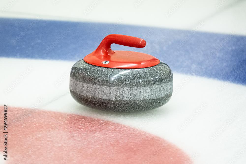Fototapeta Curling rock on the ice