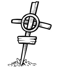 Cartoon Graphic Black And White Hand Drawn Wooden Cross With Nameplate And Grass. Isolated On White Background. Halloween Vector Icon.