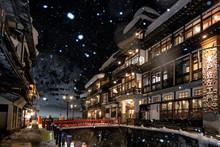 Ginzan Onsen In Winter Snow Fa...