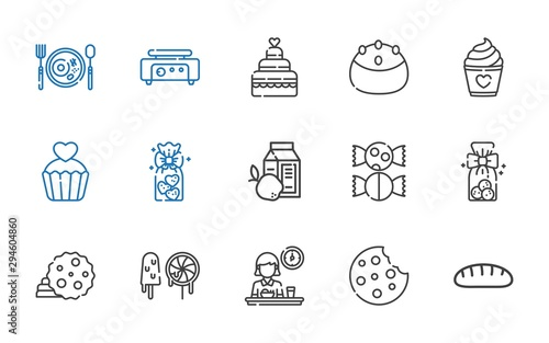 pastry icons set Canvas Print