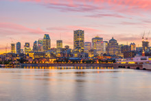Downtown Montreal Skyline At Sunset