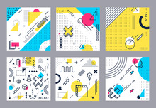 Abstract Geometrical Background. Modern Geometric Shapes, Funky Minimal And Memphis Style Square Cards Design. 80s Retro Pop Backdrop Wallpaper Isolated Vector Illustration Set