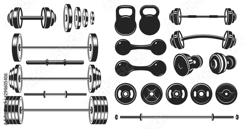 Obraz Gym equipment silhouette. Fitness sport, heavy weight barbell and vintage bodybuilding stencil. Wellness equipment, fit exercise or yoga training iron lift sign. Isolated vector illustration icons set - fototapety do salonu