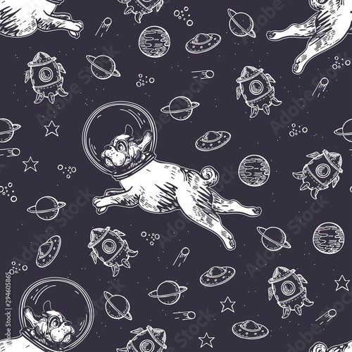 fototapeta na drzwi i meble Seamless pattern with pugs, planets and rockets. Dog astronaut flies in space.