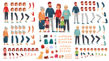 Cartoon Family Creation Kit. Parents, Children And Grandparents Characters Constructor. Big Family, Mascot Emotions, Body Gesture And Hairstyle. Isolated Vector Illustration Symbols Set