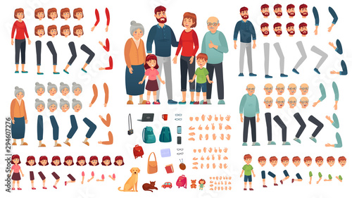 Obraz Cartoon family creation kit. Parents, children and grandparents characters constructor. Big family, mascot emotions, body gesture and hairstyle. Isolated vector illustration symbols set - fototapety do salonu