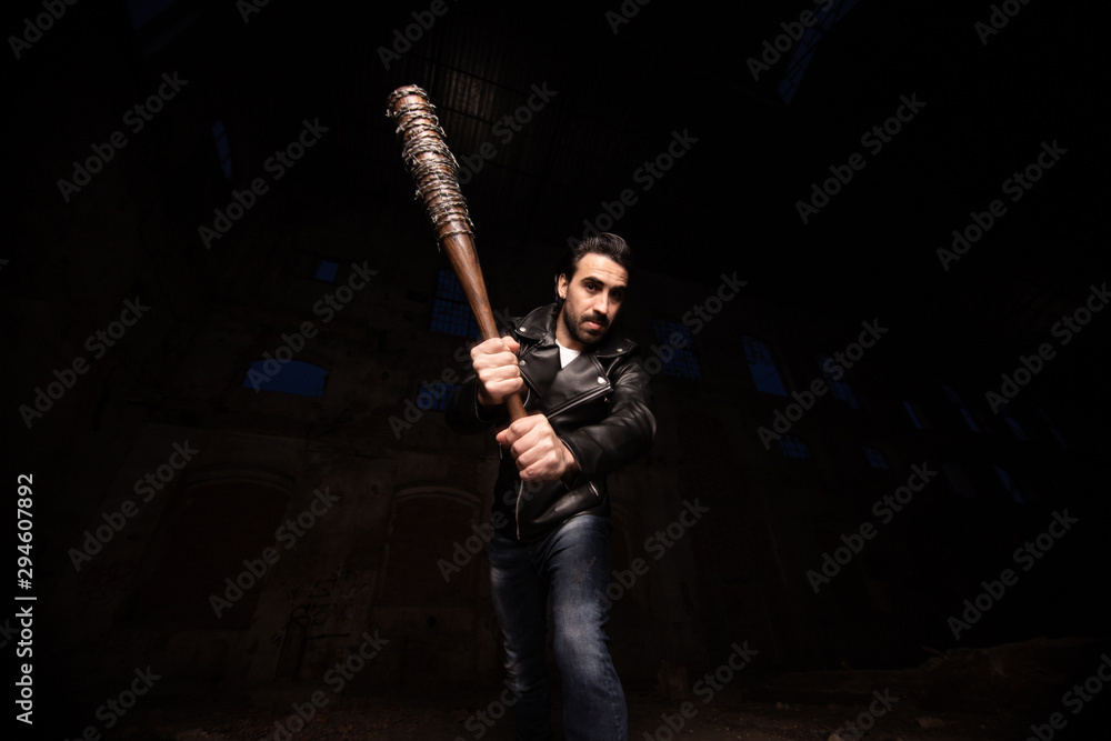 Fototapety, obrazy: man in leather jacket and baseball bat