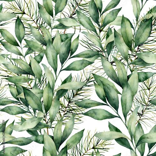 akwarela-eukaliptusa-i-jodla-bezszwowe-tlo-recznie-malowane-sklad-eukaliptusa-i-swierka-na-bialym-tle-wakacyjna-kwiecista-ilustracja-dla-projekta-druku-lub-tla