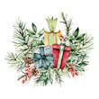 Watercolor Christmas card with gift boxes and floral decor. Hand painted berries, pine cones, fir and eucalyptus branches isolated on white background. Holiday print for design, print or background.