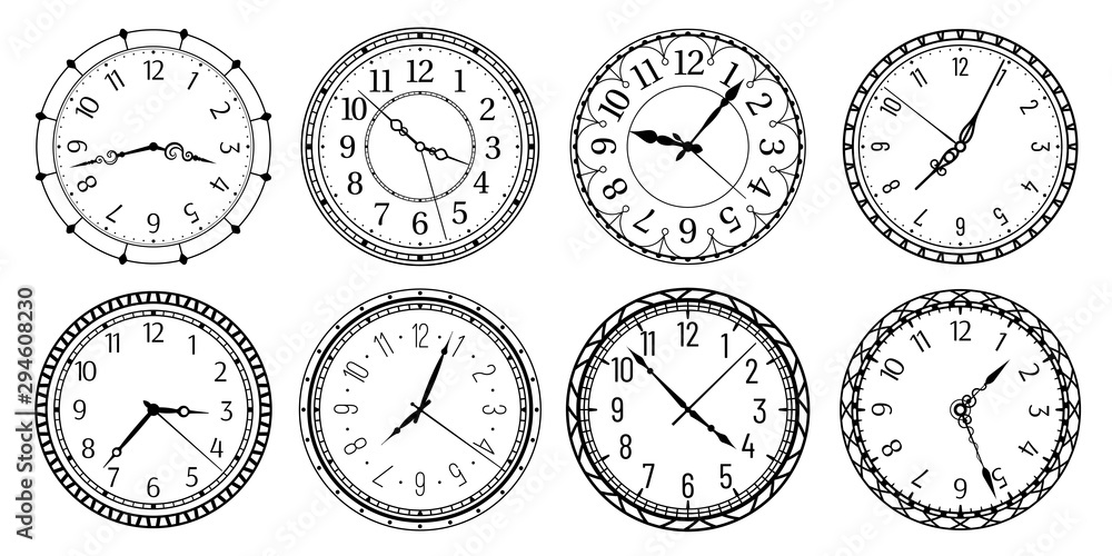 Fototapety, obrazy: Vintage round clock face. Antique clocks with arabic numerals, retro watchface and antic watches. Elegant time clock, hour clocking sign. Isolated vector illustration symbols set