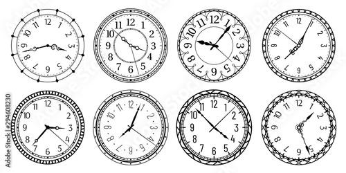 Fototapeta Vintage round clock face. Antique clocks with arabic numerals, retro watchface and antic watches. Elegant time clock, hour clocking sign. Isolated vector illustration symbols set obraz