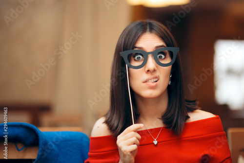 Funny Woman Wearing Party Mask Accessory