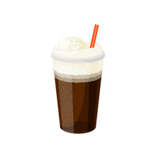 Glass Of Ice Cream Cola With Straw. Vector Illustration Cartoon Flat Icon Isolated On White.